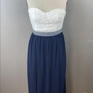 Gianni Bini Elsie blue white lace maxi dress